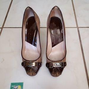 Dior brown monogram heels